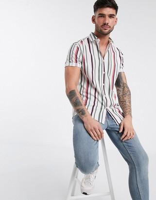 Asos DESIGN stretch slim shirt in poplin stripe