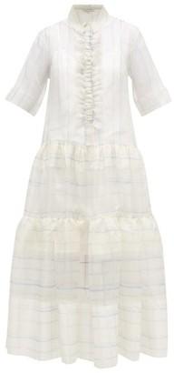 Lee Mathews Sandy Ruffled Checked Silk-organza Shirt Dress - Womens - White