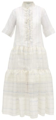 Lee Mathews - Sandy Ruffled Checked Silk-organza Shirtdress - Womens - White
