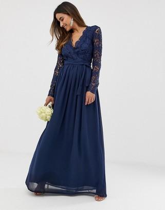 Club L London bridesmaid long sleeve crochet detail maxi dress-Navy