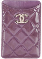 Chanel Quilted Patent Phone Holder