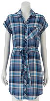 Almost Famous Juniors' Plaid Button-Down Shirtdress