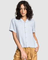 Quiksilver Womens Stripe Short Sleeve Linen Camp Shirt