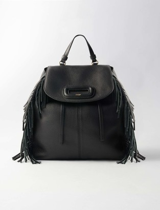 Maje M leather backpack with chain