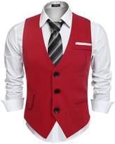 Hasuit Men's Dress Vest V-Neck Tie Pocket for Suit or Tuxedo