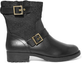 DKNY Naomi jacquard-paneled faux leather ankle boots