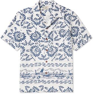 Ralph Lauren RRL Wayne Camp-Collar Printed Linen Shirt
