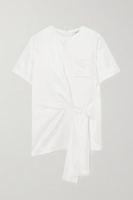 Max Mara Tie-front Silk-satin T-shirt - White