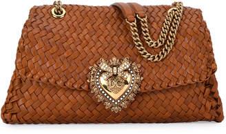 Dolce & Gabbana Devotion Soft-Sided Woven Leather Shoulder Bag
