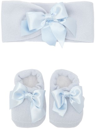 La Perla Knit Socks & Headband Set W/ Satin Bow