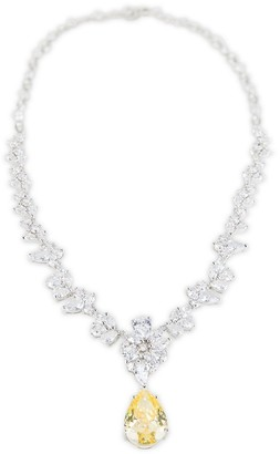 Cz By Kenneth Jay Lane Silvertone & Cubic Zirconia Multi-Station Pear-Drop Necklace