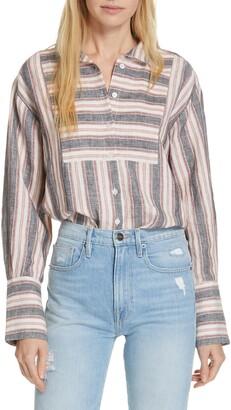Frame Stripe Linen Bib Shirt