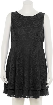 Speechless Juniors' Lace V-Back Fit & Flair Dress