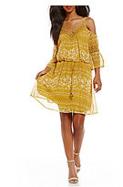 Jodi Kristopher Cold-Shoulder Floral Print Blouson Dress