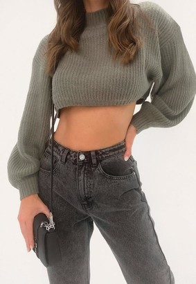 Missguided Petite Gray High Neck Balloon Sleeve Boyfriend Cropped Sweater