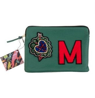 Laines London Embellished Arrow Heart Personalised Classic Leather Clutch Bag - Medium - Green / Red