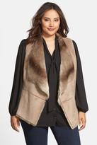 Kristen Blake Faux Shearling Vest (Plus Size)