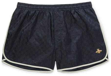 Gucci Short-Length Embroidered Jacquard-Shell Swim Shorts