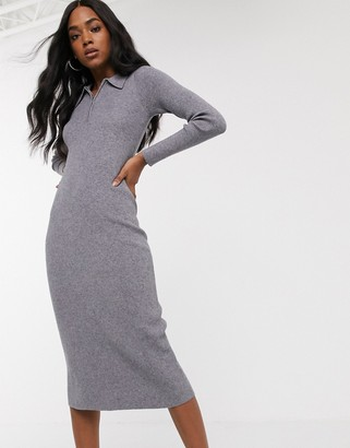 Fashion Union knitted polo midi dress
