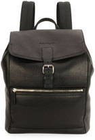 Salvatore Ferragamo Manhattan Leather Backpack, Black