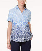 Karen Scott Cotton Ombré-Print Shirt, Created for Macy's