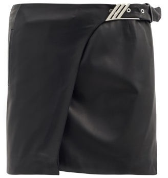 ATTICO Logo-buckle Leather Mini Skirt - Black