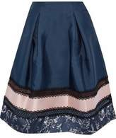 Sachin + Babi Faille-Paneled Lace-Trimmed Printed Satin Skirt