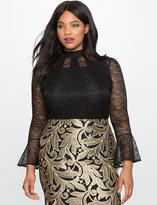 ELOQUII Plus Size Flare Sleeve Lace Bodysuit