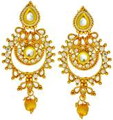 Bamboo Gold Tone Kundan Wedding Earring Set Indian Bollywood Bridal Wear Ethnic Jewelry