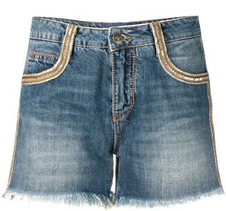 Ermanno Scervino Gold-Tone Embellished Denim Shorts
