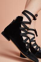 All Black Misty Lace-Up Ballet Flats