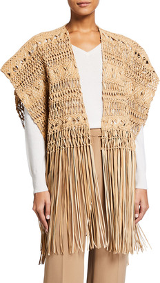 Ralph Lauren Krystie Macrame Leather Poncho