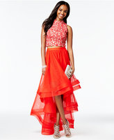 Say Yes to the Prom Juniors' 2-Pc. Lace High-Low Gown, A Macy's Exclusive