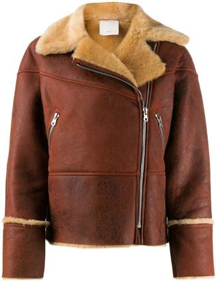 Sandro Paris fur-trimmed biker jacket