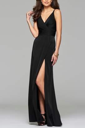 Faviana Faille Satin V-Neck Dress