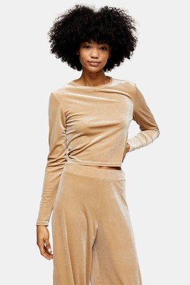 Topshop Womens Velvet Loungewear Long Sleeve Top - Champagne