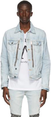 Amiri Blue Denim Bandana MX2 Trucker Jacket