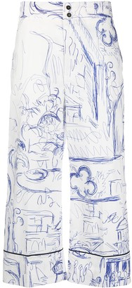 Erika Cavallini Sketch-Print Cropped Trousers