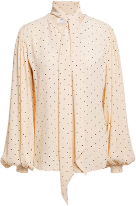 Equipment Tie-neck Printed Crepe Blouse
