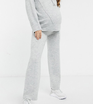 ASOS DESIGN Maternity co-ord knitted wide leg pants in grey marl