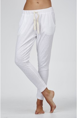 Cloth & Co. - Women's White Pants - Organic Cotton Slub Lounge Pants - Size One Size, XS at The Iconic