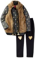 Betsey Johnson Faux Fur Vest, Heart Tee, & Jegging Set (Little Girls)