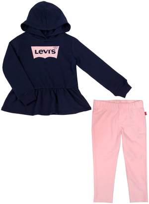 Levi's Baby Girl's 2-Piece Cotton-Blend Peplum Hoodie Leggings Set