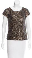 Alice + Olivia Sequined Short Sleeve Top