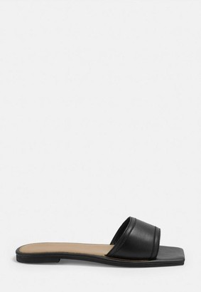 Missguided Black Leather Flat Sandals