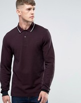 Fred Perry Polo Shirt With Long Sleeves In Mahogany