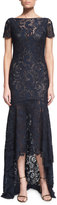 Theia Short-Sleeve Lace High-Low Gown