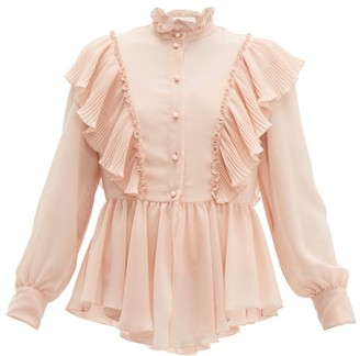 See by Chloe Ruffled Georgette Blouse - Womens - Light Pink