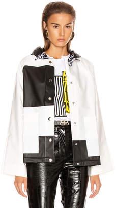 Proenza Schouler White Label Colorblock Short Raincoat in White & Black   FWRD