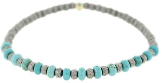 Luis Morais 18kt Yellow Gold, Turquoise And Grey Beaded Bracelet